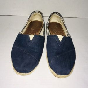 Toms Blue Nautical Shoes Canvas Slip On Flats